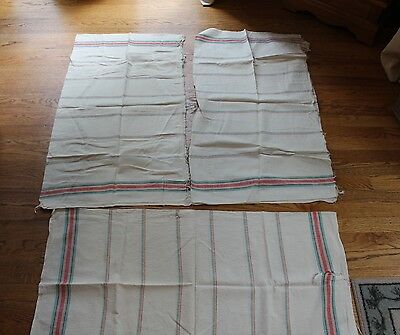 3 VINTAGE GRAIN SACK HEMP LINEN STRIPE MULTI COLOR  EUROPEAN FEED SACKS  20x37