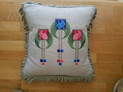 New Embroidered Arts and Crafts Pillow Stickley Style Contemporary Glasgow Rose
