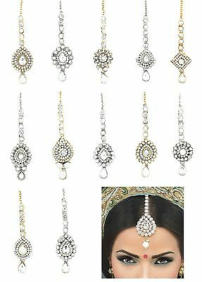Kundan Stones Indian Head Hair Tikka Headpiece Jhumar Grecian Style Bohemian