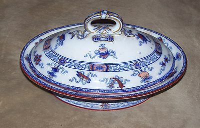"""ANTIQUE MINTON CHINA Woodseat HAND PAINTED 11"""" OVAL SOUP TUREEN W/LID- NO DAMAGE"""