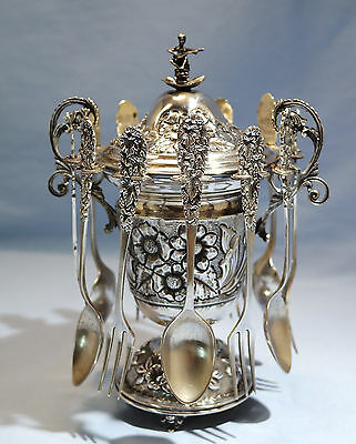 German Sterling/800 Silver Confiturier Lidded Jam-Condiment by E. Xeipoz 20th C.