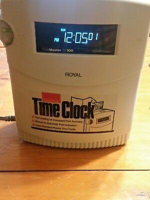 Royal Eletronic Time Clock TimeMaster TC100 With key and instruction manual