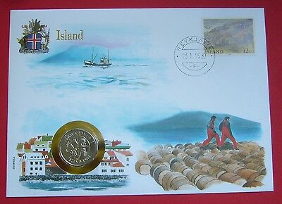 Iceland 5 Kronur 1984, Cover-Stamp-Unc Condition, Two dolphins leaping left