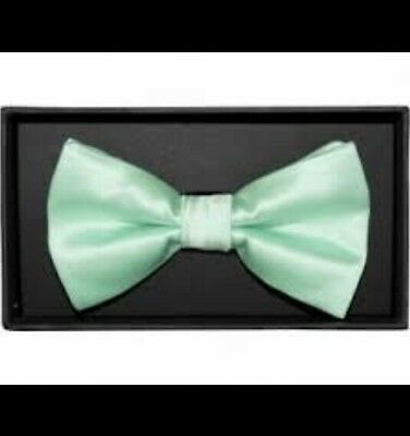 Mint Green satin bow tie elastic attachment for kids toddler baby FAST SHIPPING!