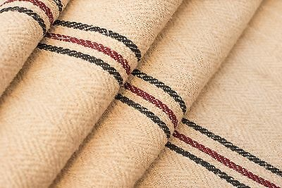 Red stripes grain sack upholstery rustic or Grain sack hemp pillow decoration