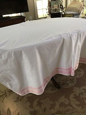 Charming Pottery Barn Kids Crib Skirt /Dust Ruffle. White with Pink Ribbons
