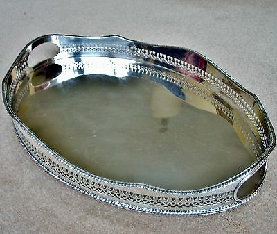 VINTAGE Silver Plated Oval Mirror Finish Gallery Tea Drinks Serving Tray Handles