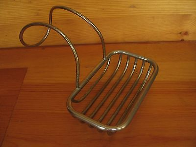 Antique Vintage Metal Wire Soap Dish Holder Clawfoot Bath Tub Sink Nickel Brass