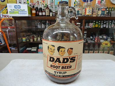 Dad's Soda Fountain Syrup Root Beer Paper Label Gallon Jug Clear Glass Chicago,