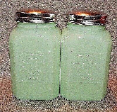JADEITE Glass SQUARE SALT PEPPER S/P SHAKERS w RAISED LETTERS Jadite