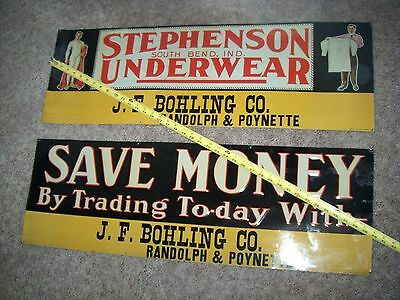 PR 100 year old tin signs Stephenson Underwear South Bend IN Bohling Randolph WI