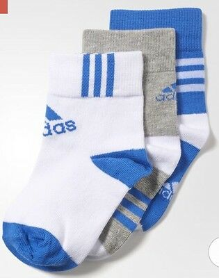 Available In 2 Sizes Adidas Ankle Socks 3 Pairs Grey Heather/White/Blue