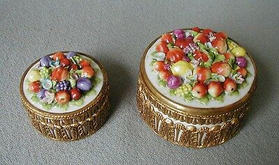PAIR ELFINWARE GERMANY PORCELAIN FLOWER ENCRUSTED DRESSER BOXES w BRASS MTS.