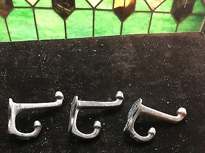3 Cast Iron School Style Acorn Coat Hooks Hat Rack Hall Tree Harness Restoration