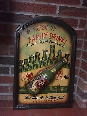 Vintage Wood 3-D Soda Bottle 7-Up 7UP Advertising Sign Family Drink Soda Painted