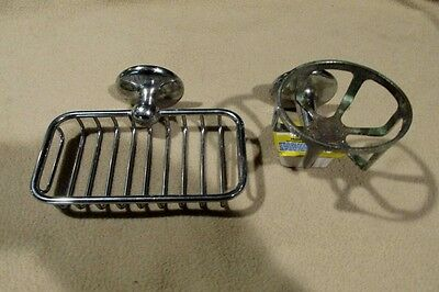 Antique Nickel Brass Victorian  Soap Dish and Cup Holder Charles Parker Co. 1933