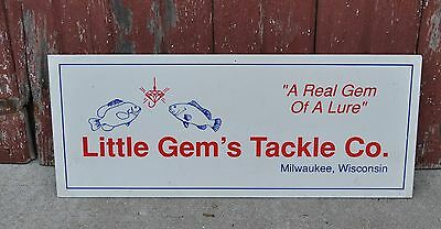 LITTLE GEMS TACKLE COMPANY MILWAUKEE WISCONSIN WI FISHING SIGN lure advertising