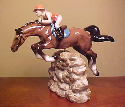 OLDER Hagen-Renaker Specialty #3326 JUMPING HORSE WITH RIDER - Ceramic Figurine