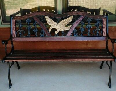 Antique Vintage Cast Iron Wood Outdoor Bench