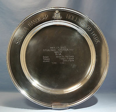 Shreve San Francisco Sterling Silver Trophy Tray Hollywood Park $20,000 Prize'65