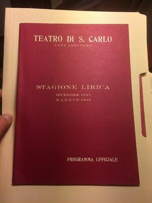 Teatro Do San Carlo Theatre Program Vintage Historic Opera Naples  Italy 1947