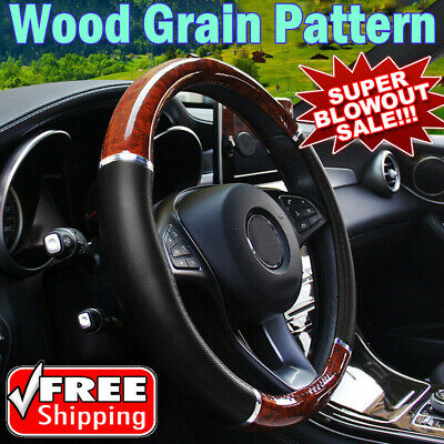 Luxury Auto Car Steering Wheel Cover Mahogany Wood with PU Leather Car Cover