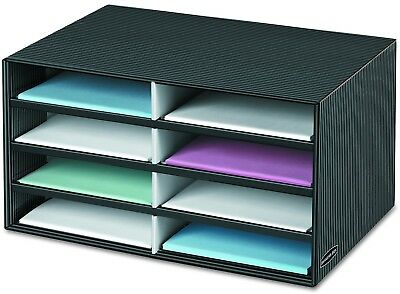Decorative Eight Compartment Paper Sorter Letter Storage Organizer Black Gray