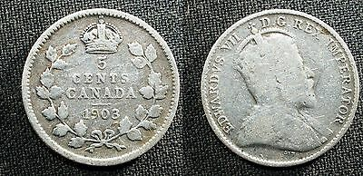 1903 Canada 5 cent SILVER  - Solid GOOD  stk#2H35