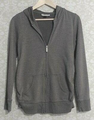 Motherhood Maternity Zip Up Gray Hooded Jacket Stretchy Ruched Sides Size Small