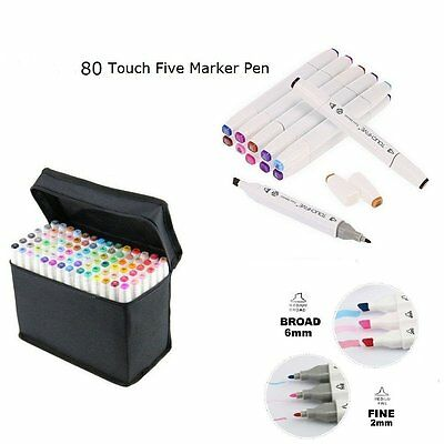 AU Set of 80 Colour Markers Pen Touch New Graphic Art Sketch Twin Tip Broad Fine