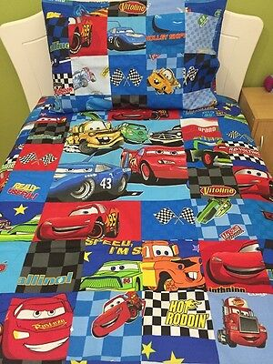New Blue Patchwork Cars McQueen Cot Quilt/ Doona Cover + Pillowcase