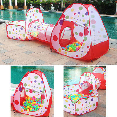 Kids Indoor Outdoor Play Tent Tunnel Set 3 in 1 Ball Pit Tent with Zippered