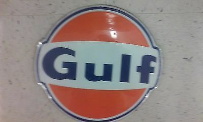 Gulf Embossed Metal Sign With Raised Letters 12 Inches Diameter Gas An Oil
