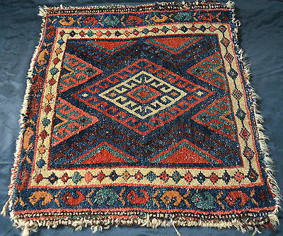 Superb Antique Hand Knotted Tribal Qashqai  Kashkay Bag Face Rug Vegetable Dyes