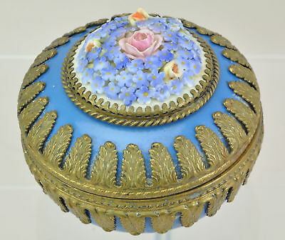 Antique German Porcelain and Brass Round Covered Box with Applied Flowers 19th c