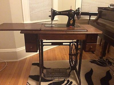Antique Singer Treadle Sewing Machine With 5 Drawer Walnut Cabinet, 1871 Works!!