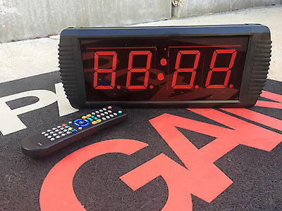 Crossfit LED 4 Digits Interval Timer Large Wall Clock w/Remote Garage WOD