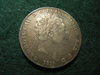 Great Britain (Uk) Silver Crown 1819 Lx Type F-Vf Condition Km#675 George Iii