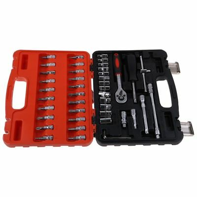 1/4'' Metric Mechanics Tool Set 46Pcs Drive SAE Metric Socket Wrench With Case