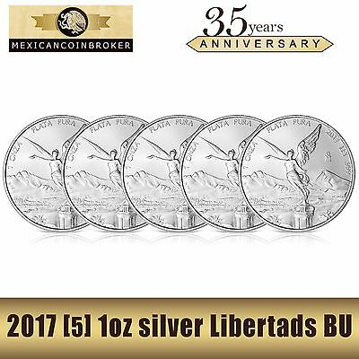 Lot of 5-2017 1oz silver Libertad BU  *Treasure Coin of Mexico™* FREE capsules