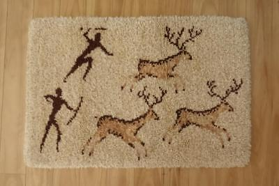 Thick Heavy Brown Tan Beige Hand Pegged Wool Vintage Floor Rug Home Decor