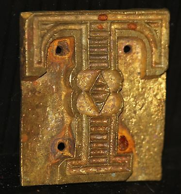 """Letter Press Plate Font metal type face Vintage """"T"""" ORNATE TYPOGRAPHIC OLD brass"""