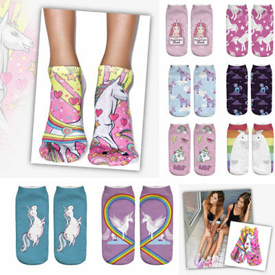 1 Pairs Ladies/Womens Cartoon Print Gym Sports Trainer Ankle Socks Unicorn