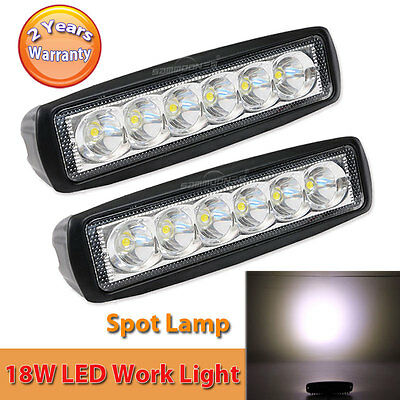 2X 6INCH 18W CREE LED WORK LIGHT BAR SPOT Lamp OFFROAD DRIVING FOG 4WD UTE SUV
