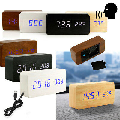 Modern Wooden Wood USB/AAA Digital LED Table Clock Calendar Thermometer Sound