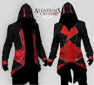 Assassin's Assassins Creed 3 III Conner Felpa Giacca Cosplay Nero/Rosso