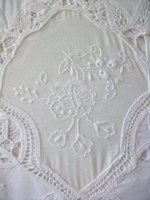 French Antique  Boudoir Embroidery Lace Cotton Bed Cover /Throw