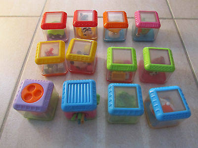 Fisher Price Peek-A-Blocks - 12 Assorted Stacking Sensory Cubes - 6M+