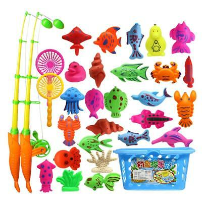 32Pcs Educational Fish Game Magnetic Fishing Pole Rod Interactive Kid Toys
