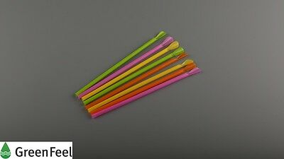 Smoothie/Milkshake Bar Slush Drinking SPOON STRAWS MULTICOLOUR JUMBO 8mm 250pcs
